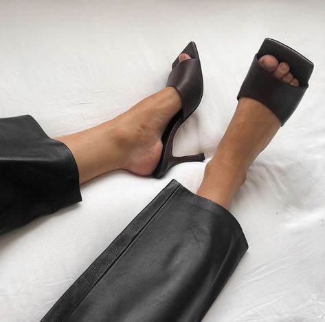 Black Leather Pants and Black Leather Mules - Photographer Unknown