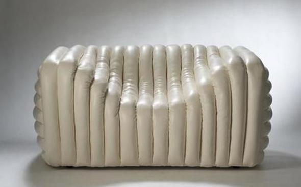 Cream Leather Designer Armchair - Designer Unknown